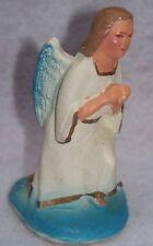 VINTAGE BLUE & WHITE CHRISTMAS ANGEL NATIVITY MANGER CHALK FIGURINE MID CENTURY
