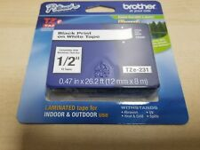 """BROTHER 1/2"""" (12mm) BLACK ON WHITE P-TOUCH TAPE FOR PTD200, PT-D200 LABEL MAKER"""