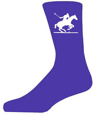 High Quality Purple Socks With a Polo Player, Lovely Birthday Gift