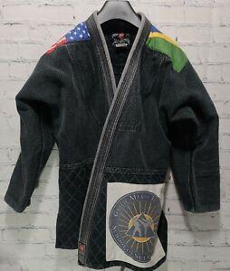 Atama A4 Men's GI With Flag Brazil USA Jiu-Jitsu No Size Tags Fits Like XL A11