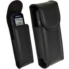 Nero Vera Pelle Custodia Case per Sony ICD-PX312 PX333 PX440 Registratori Vocali