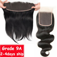 9A 100% Virgin Human Hair Frontal Lace Closure One Piece Straight Body Wave US