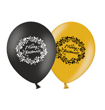"""Christmas Wreath  12"""" Printed Latex Balloons Black & Gold Assorted Pack of 5"""