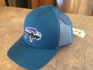 BNWT Patagonia Fitz Roy Bison Trucker Hat 2016 DISCONTINUED Blue BOX SHIPPED