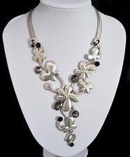 Luxus Set Kette Ohrringe Clips Collier Halskette Versilbert Paris Kristall Blume