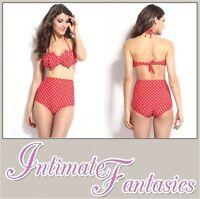 Sexy Red Retro High Waist Polka Dot Bikini Womens Size 10 12 14 Swimwear