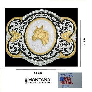 Fibbia cintura western country cowboy testa cavallo Silver Montana Silvermiths