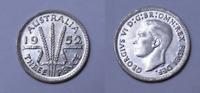 Australia 1952 Threepence 3d KGVI, aUNC , NICE COIN  (HF127.3)
