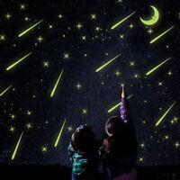 Luminous DIY Star Meteor Shower Glow In The Dark Moon PVC Wall Bedroom Stickers