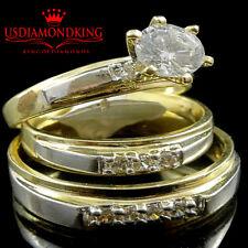 Men Womens His Her 10k 2 Tone Gold Lab Diamond Wedding Bridal Trio Ring Band Set