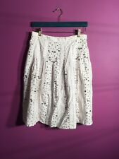 """Carole Little - White Skirt With Silver Beads And Sequins Size 4 Length 24"""""""