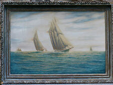Fine US Racing Schooners Yachts Off The Fastnet Painting Listed Artist J Arnold