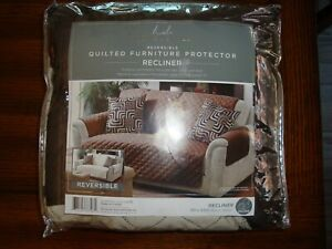 Home Details Reversible Quilted  Recliner Protector Chocolate/Taupe  NEW