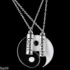 New Ying and Yang Yin BEST FRIENDS 2 Piece Pendant BFF Necklace USA SELLER