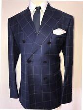 Navy windowpane super 150 Cerruti custom bespoke double breasted wool suit-Italy