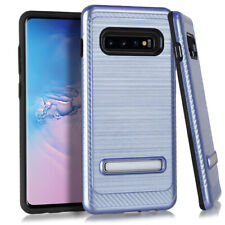 Samsung Galaxy S10 Plus - Metal Stand Brushed Case Blue