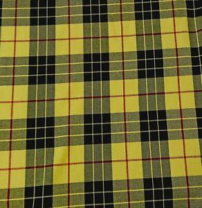 Tartan Kinross Black Yellow Craft Dress Plaid Fabric 150 cm wide fabric FREE P&P
