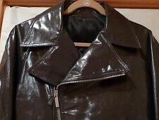 ZEGNA  MOTORCYCLE STYLE GREY LEATHER MEN'S JACKET ITALY SIZE 50/M