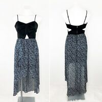 NWT BCBGENERATION Black Blue Pattered Cut Out Tank Hi Lo Maxi Dress Size 6
