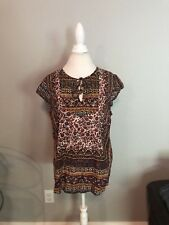LUCKY BRAND Women's Peasant Blouse Boho Top Tunic Sleeveless Soft ~ Large