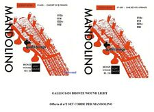 OFFERTA di 2 MUTE SET CORDE PER MANDOLINO GALLI STRINGS G1420 BRONZE WOUND LIGHT