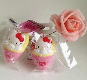 Sanrio HELLO KITTY STRAWBERRY CREPE Squishy Charms cell phone strap with TAG 1pc