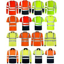 Hi Viz Vis T-Shirt Polo Shirt Top High Visibility Safety Security Work Reflect