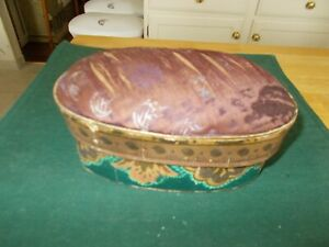 1800S CARDBOARD SHAKER STYLE BOX WITH WALPAPER AND PICTURES INSIDE PINCUSHION TO