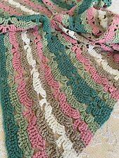 Vintage Mid Century Handmade Crocheted Yellow White Brown Throw Afghan 🧶