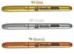 Medium METALLIC Permanent Marker Pen Gold Bronze Silver Craft Paper Card Metal