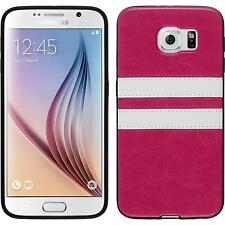 Silicone Case for Samsung Galaxy S6 Stripes hot pink + protective foils