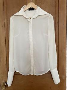 Arrogant Cat Cream White Sheer Women's Shirt Blouse S/M