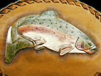 Trout Fly Fish Genuine Leather Craft Oval Hand Tooled Laced Waist Belt Buckle