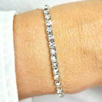 Silver CZ Diamante Crystal Adorned Tennis Bracelet Elastic Bangle Bridal Gift UK