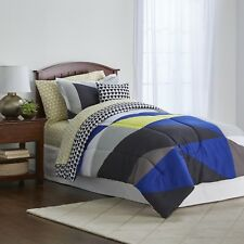 Colormate Blue Green White Colorblock Geometric Complete Bed Set, Twin XL