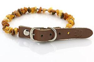 "Raw Baltic Amber Anti-Tick Anti Flea Dog Collar Necklace 25-30cm / 9.7-11.7"""