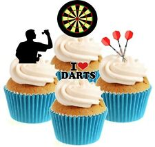 Novelty Darts Player Mix 12 Edible Stand Up wafer paper cake toppers dart board