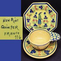 Henriot Quimper c1920s Breton Soleil Man Lady 79 96 116 Vintage French Trio Set