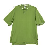 Adidas ClimaLite Polo Shirt Mens Size XL Green White Short Sleeve