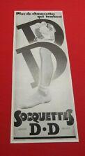 ADVERTISING PUB PUBLICITE ANCIENNE ADVERT 2.3 SOCQUETTES D.D PLUS DE CHAUSSETTES