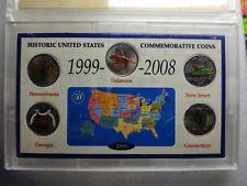 Historic United States Commemor Coins (5 colored  Quarters) (PA, NJ, DE, GA,CT)
