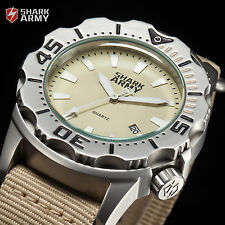 Marine 100M SHARK ARMY Diver Nylon Military Men's Khaki Sport Watch + Steel Box