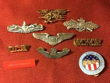 Vietnam Era To Modern Us Military Insignia - Most Hallmarked - Vg Condition