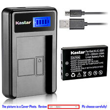 Kastar Battery LCD Charger for Kodak KLIC-5001 & Kodak EasyShare Z760 Camera