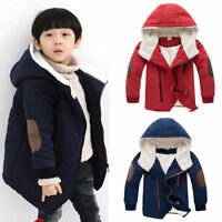Children Kids Boys Winter Warm Thick Cotton Jackets Hooded Fur Outerwear Clothes