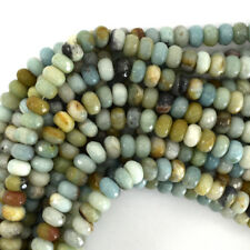 """Faceted Amazonite Rondelle Beads Gemstone 15.5"""" 2mm 3mm 4mm 6mm 8mm 10mm 12mm"""