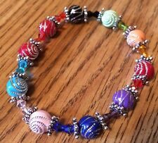 Handmade Mixed Color w Silver Plated Spacers and Acrylic Bead Stretch Bracelet