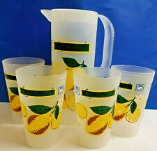 Retro 70's Lemonade 4 Tumblers Glasses Pitcher with Lid Yellow Green Plastic