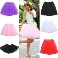 Girls Women Elastic Stretchy Tulle Dress Teen 3 Layer Adult Tutu Skirt Cute