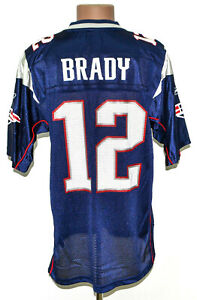 NFL NEW ENGLAND PATRIOTS AMERICAN FOOTBALL SHIRT JERSEY BRADY #12 REEBOK M